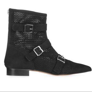 Topshop Andrew Black Suede Mesh 3 Buckle Pointed Toe Ankle Boots